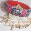 Teal polymer clay bangle bracelet