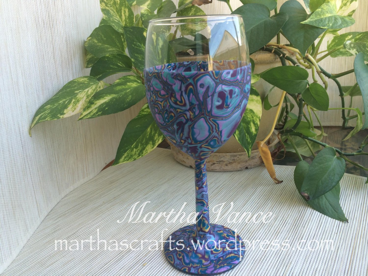 Wine Glass covered with Polymer Clay
