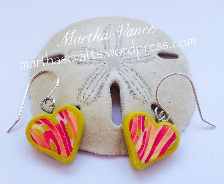 Polymer clay Heart Earrings