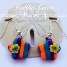 Polyme clay striped flower earrings