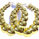 3 Inch Hoop Earrings Gold Tone Puff Bubble Hoop Earrings Old School Hoops