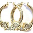 Egyptian Gold Tone Hoop Earrings