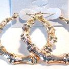 Bamboo Hoop Earrings 2.5 inch Gold Tone Hoop Earrings