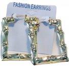 Bamboo Hoop Earrings 3 inch Square Gold Tone Hoop Earrings