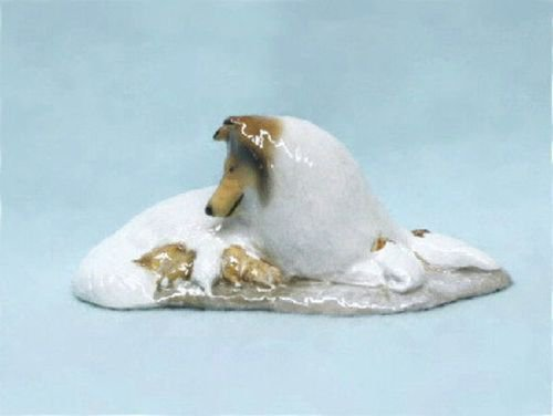 Ron Hevener Collectible White Collie Dog and Pups Figurine