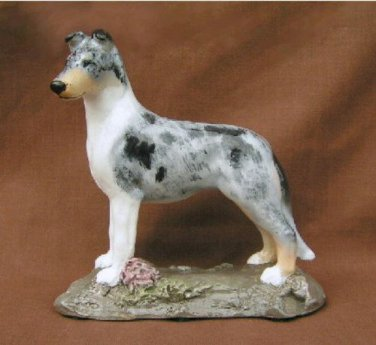 Ron Hevener Collectible Smooth Collie Dog Figurine Blue Merle
