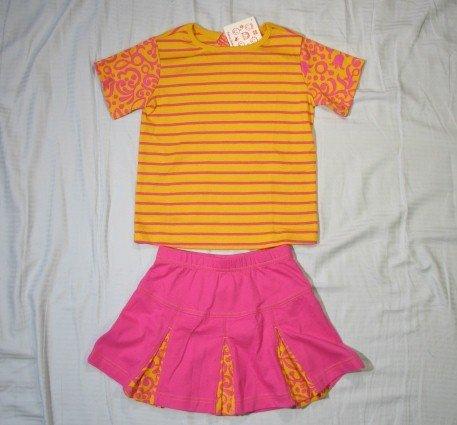 NWT Hanna Andersson Yellow $52 Pink Tee & Kicky Skirt 110