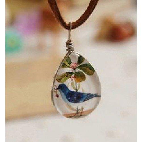 Bird & Flower Glass Pendant