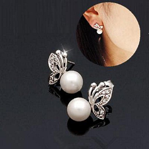 Crystal and Pearl Butterfly Earrings