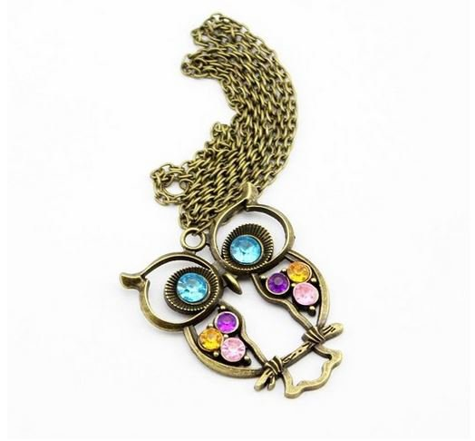 Retro Rhinestone Owl Necklace