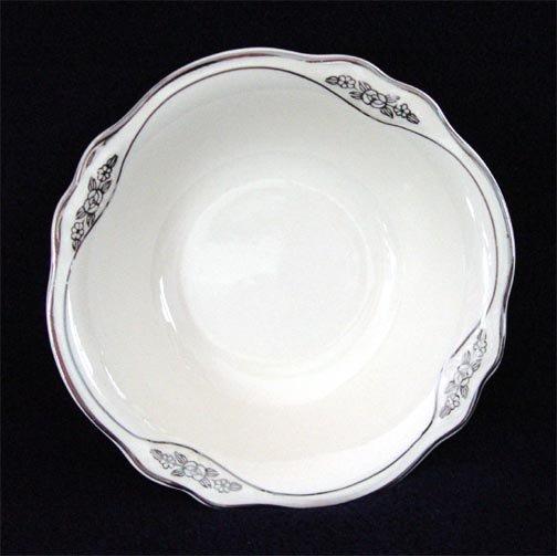 Homer Laughlin Virginia Rose Patrician Berry Bowl Silver Platinum Trim
