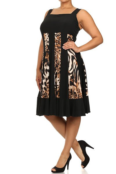 Leopard print, Striped, Tank Dress. Plus 1X, Cocktail, Knee-Length, Multi-Color