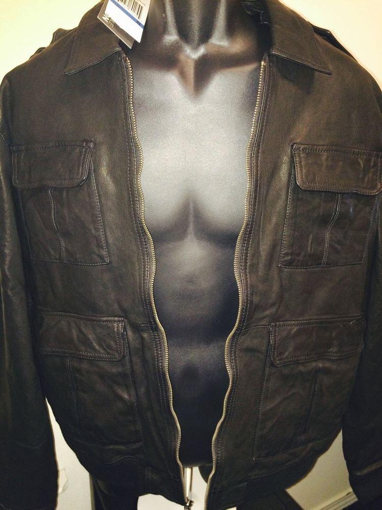 Kenneth Cole Reaction Black Leather Jacket Xl