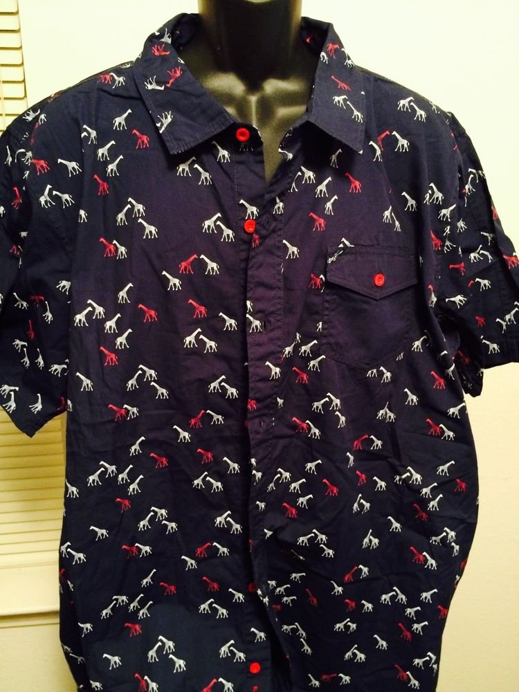 Lrg Men's Navy Blue Dress Shirt 3Xl Animal Print, Big & Tall, Classic Fit