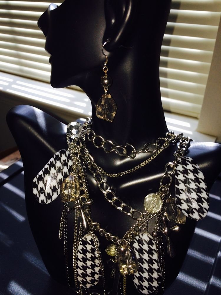 Black And White Checkered Necklace With Silver Crosses And Clear Earrings Set