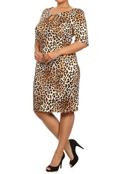 Cheetah print,Scoop Neck, Midi Dress with 3/4 sleeves