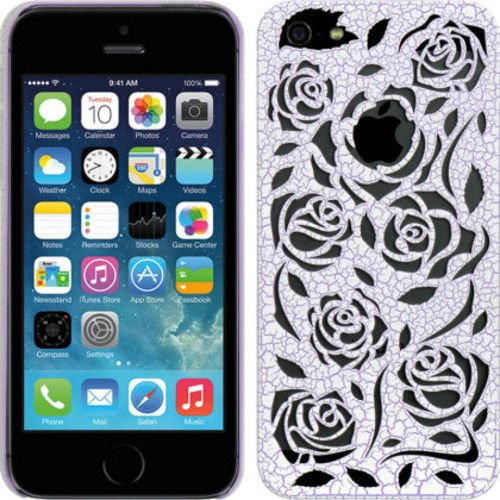 IPHONE 5/5S CRYSTAL RUBBER WOOD CARVING CASE ROSE PURPLE For Apple and Patterned