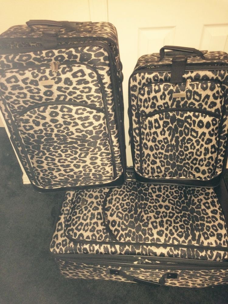Snow Leopard Wheeled 3 Piece Luggage Set Animal Print, Multi-Color, Polyester