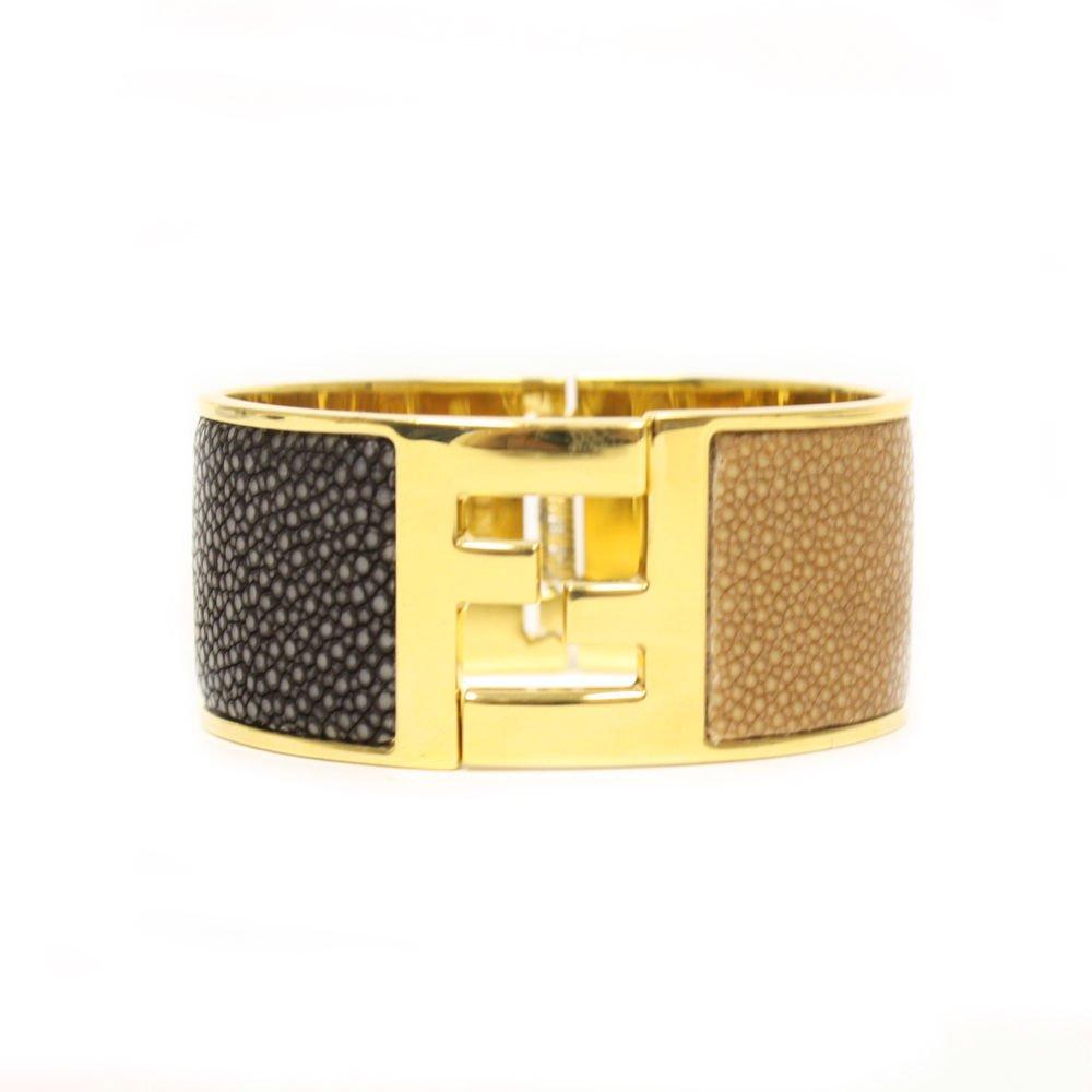 FENDI FF Logo Stingray Textured Leather Gold Cuff Bracelet