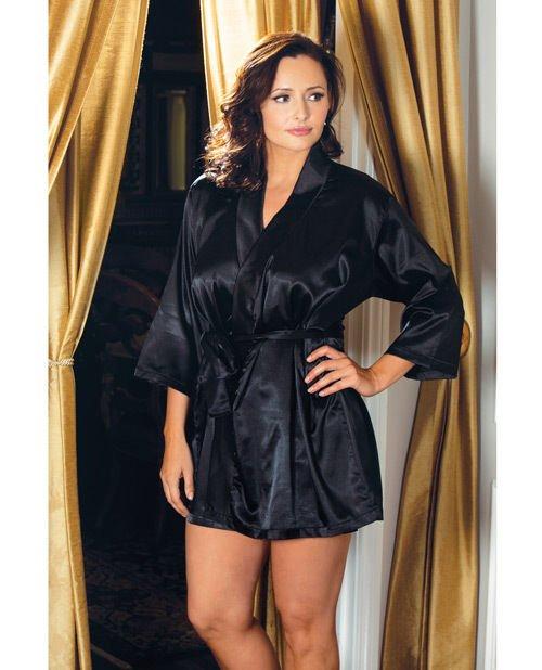Satin 3/4 Sleeve Robe w/Matching Sash Black 3X/4X