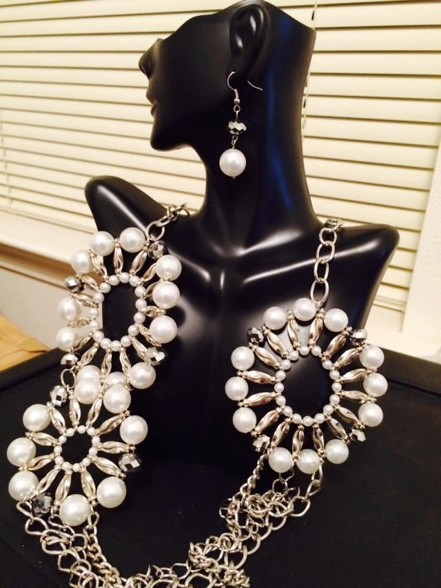 Fuax Pearl Silver Necklace And Earrings Set