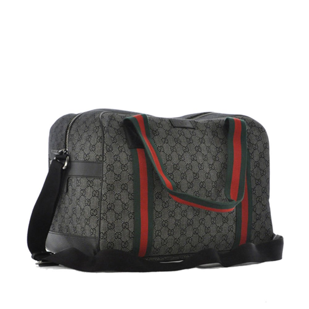 Gucci Diamante Black Web Duffle Carry-on Travel Overnight Bag