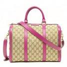 Gucci Vintage Web Pink Leather GG Canvas Boston Bag