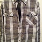 Rocawear Black Gray Plaid 3Xl Dress Shirt Classic Fit, Cotton Blend, Long Sleeve