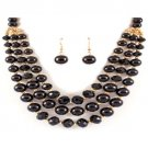 PEARL MULTI LAYERED GLASS BEADS  PEARL METAL BEADS NECKLACE AND EARRING SET