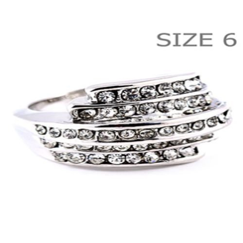 PAVE RING  CUBIC ZIRCONIA  CZ GENUINE RHODIUM PLATING SIZE 6 10 MM TALL