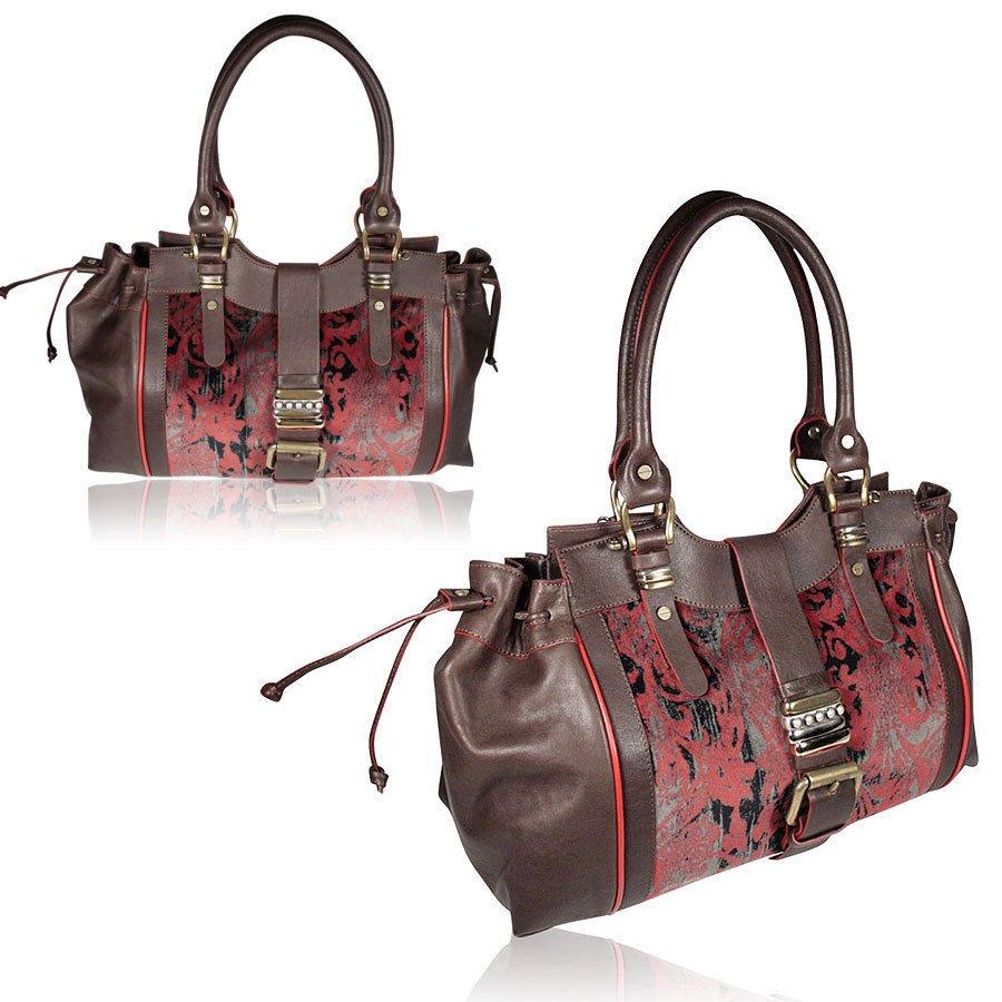 Roberto Cavalli Just Cavalli Handbag Burgundy and Brown, Large and Leather
