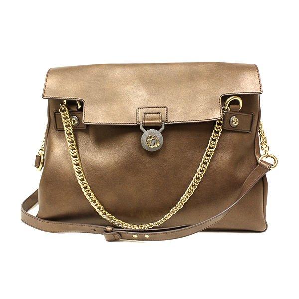 Versace Collection Golden Brown Handbag Vitello Perlato