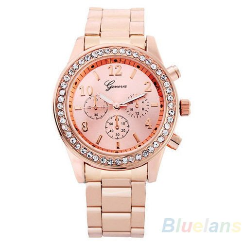 Geneva Watch with Elegant Crystal Dial Rose Gold Tone