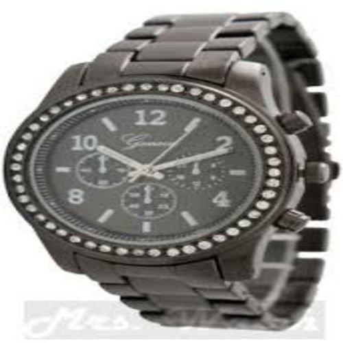 Geneva Watch with Elegant Crystal Dial Black Tone
