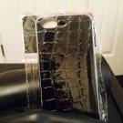 Iphone 5/5S Black Crocodile Silver Tone Case