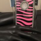 Iphone 5/5S Pink Zebra Diamond Silver Tone Case