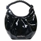 Salvatore Ferragamo Black Braided Patent Hobo