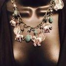 Green Beaded Elephant Necklace & Earring Set