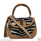 Gucci Beige & Black i Bamboo Top Handle Pony Hair Handbag