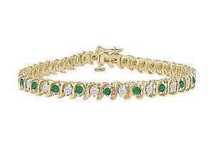 Emerald and Diamond Tennis Bracelet  14K Yellow Gold - 1.00 CT TGW
