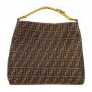 Fendi Pequin Hobo w/ Yellow Leather Trim Handle