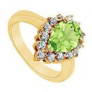 Peridot and Diamond Ring  14K Yellow Gold - 1.50 CT TGW