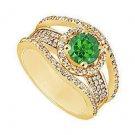 Emerald and Diamond Engagement Ring  14K Yellow Gold - 1.25 CT TGW