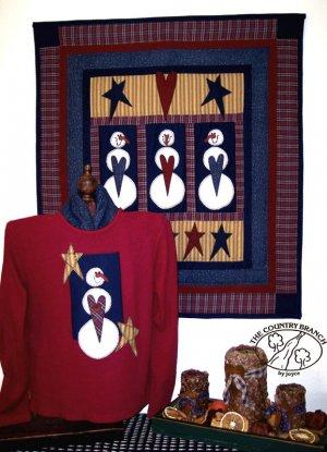 Snowballs & Stars Primitive Snowman Applique Pattern for Quilt or Sweatshirt PATTERN ONLY  TCB 204-2