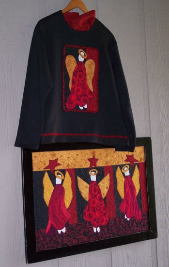 Angels Rejoice Country Primitive Applique Pattern for Quilt or Sweatshirt, PATTERN ONLY  TCB 207-2