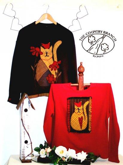 Bird & Flower Kitty Primitive Applique Pattern for Quilt  Sweatshirt, PATTERN ONLY  TCB 205-1