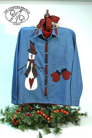 Snowbranch Mittens Primitive Snowman Applique Pattern for Quilt  Sweatshirt, PATTERN ONLY  TCB 203