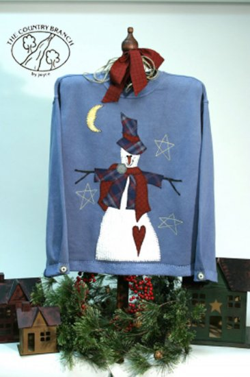 Snowbranch Stars Primitive Country Snowman Applique FABRIC ONLY  TCB 203-1