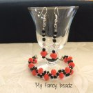 Spiral Peach Bracelet and Earrings Set