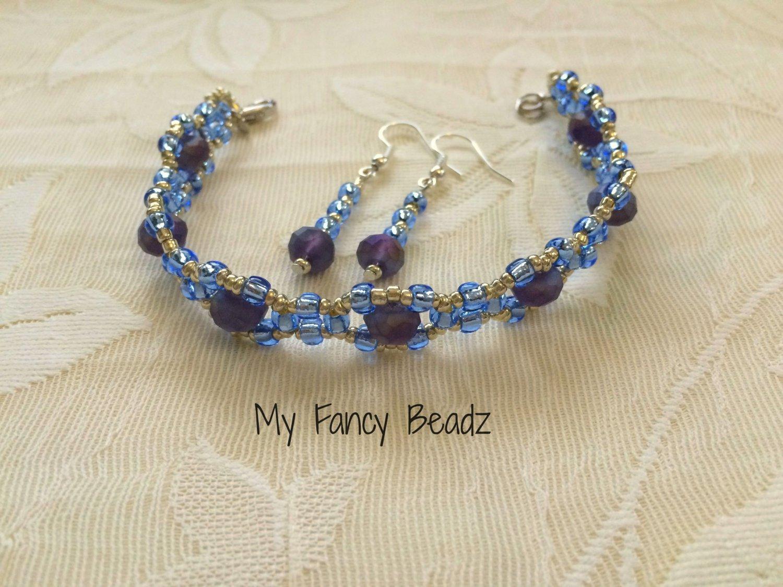 Blue-Indigo Bracelet and Earrings Set